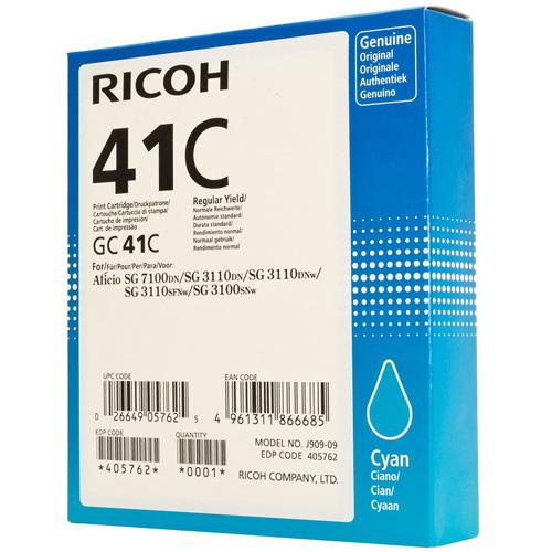 Ricoh 405762 Cyan GC41C Gel Cartridge (2200 Pages)