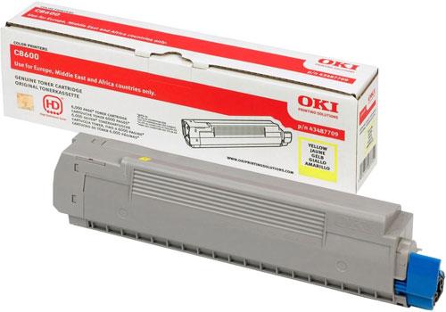 OKI 43487709 Yellow Toner Cartridge (6,000 pages)