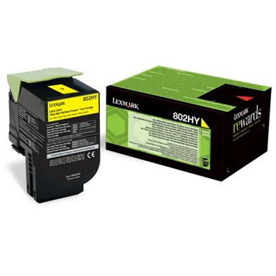 Lexmark 80C2HYE High Yield Yellow Toner Cartridge (3,000 Pages)
