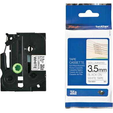 Brother TZEN201 TZe-N201 3.5mm Labelling Tape (BLACK ON WHITE)