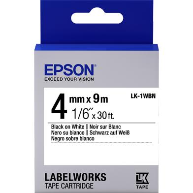 Epson C53S651001 LK-1WBN Standard Label Cartridge (Black/White) (4mm x 9m)