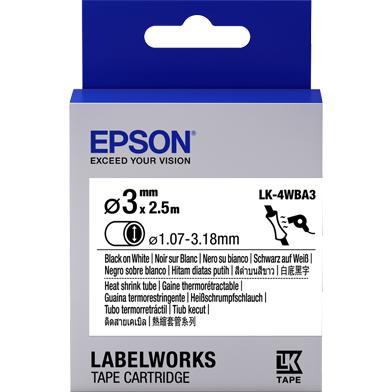 Epson C53S654903 LK-4WBA3 Heat Shrink Tube Label Cartridge (Black/White) (D3mm x 2.5m)