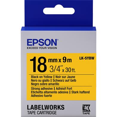 Epson C53S655010 LK-5YBW Strong Adhesive Label Cartridge (Black/Yellow) (18mm x 9m)
