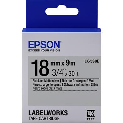Epson C53S655013 LK-5SBE Matte Label Cartridge (Black/Matte Silver) (18mm x 9m)
