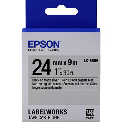 Epson C53S656009 LK-6SBE Matte Label Cartridge (Black/Matte Silver) (24mm x 9m)