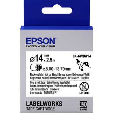 Epson C53S656903 LK-6WBA14 Heat Shrink Tube Label Cartridge (Black/White) (D14mm x 2.5m)