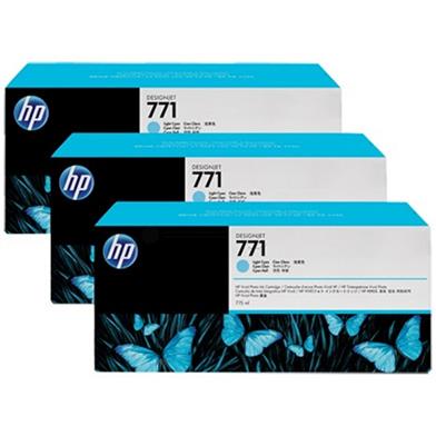 HP CR255A No. 771 Light Cyan Ink Cartridge 775ml (3-Pack) for DesignJet Printers