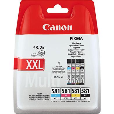 Canon 1998C005 CLI-581XXL Extra High Yield CMYK Ink Cartridge Multi Pack
