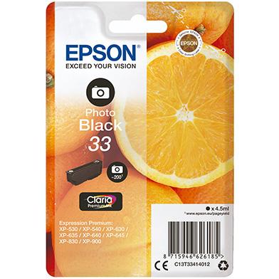 Epson C13T33414012 Photo Black No.33 Ink Cartridge (200 Pages)