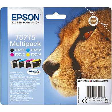 Epson T0715 Ink Cartridge Multi Pack CMY (5.5ml) K (7.4ml)