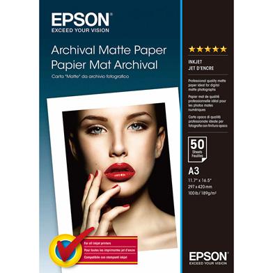 Epson C13S041344 Archival Matte Paper - 189gsm (A3 / 50 Sheets)