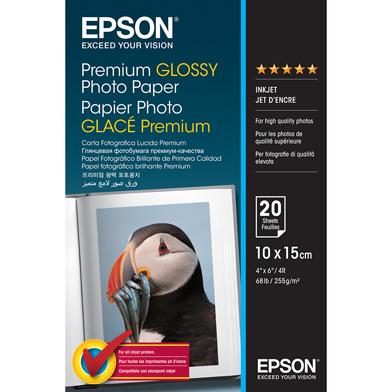 Epson C13S041706 Premium Glossy Photo Paper - 255gsm (10 x 15cm / 20 Sheets)