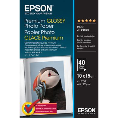 Epson C13S042153 Premium Glossy Photo Paper - 255gsm (10 x 15cm / 40 Sheets)