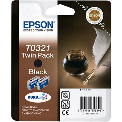 Epson C13T03214210 Black T0321 Ink Cartridge Twin Pack (2 x 33ml)