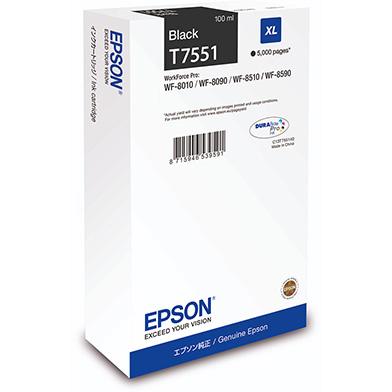 Epson C13T755140 T7551 Black XL Ink Cartridge (5,000 Pages)