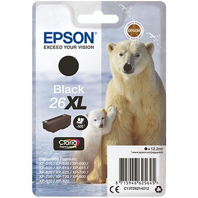 Epson C13T26214012 26XL Black Ink Cartridge (500 Pages)