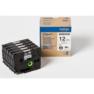Brother HG131V5 HG-131V5 12mm High Grade Labelling Tape 5 Pack (BLACK ON CLEAR)