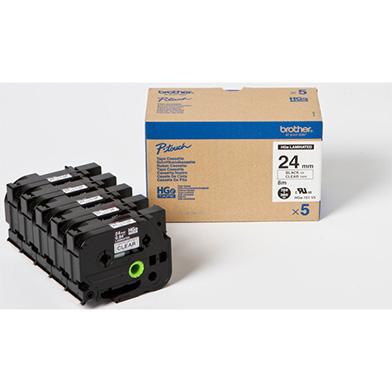 Brother HG151V5 HG-151V5 24 High Grade Labelling Tape 5 Pack (BLACK ON CLEAR)