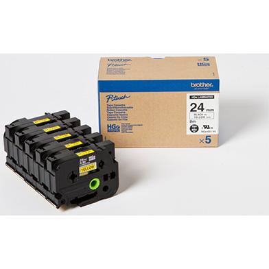 Brother HG651V5 HG-651V5 24mm High Grade Labelling Tape 5 Pack (BLACK ON YELLOW)