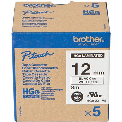 Brother HGE231V5 HGE-231V5 12mm High Grade Labelling Tape 5 Pack (BLACK ON WHITE)