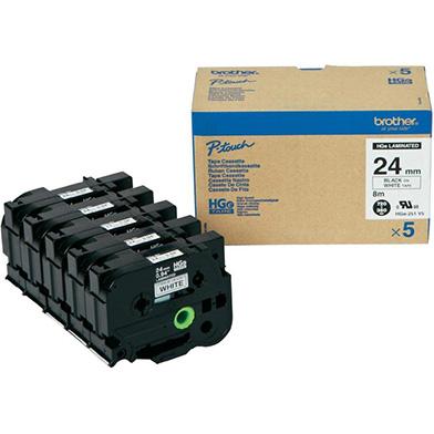 Brother HGE251V5 HGE-251V5 24mm High Grade Labelling Tape 5 Pack (BLACK ON WHITE)