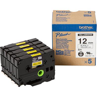 Brother HGE631V5 HGE-631V5 12mm High Grade Labelling Tape 5 Pack (BLACK ON YELLOW)