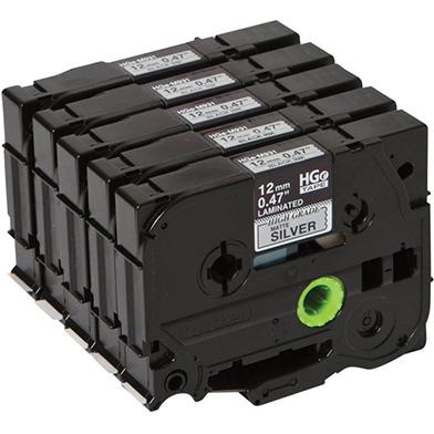 Brother HGEM931V5 HGE-M931V5 12mm High Grade Labelling Tape 5 Pack (BLACK ON MATTE SILVER)