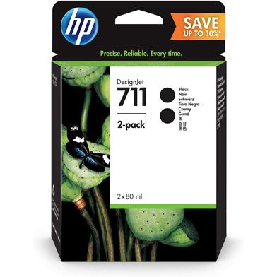 HP P2V31A 711 Hi-Cap Black Ink Cartridge (80ml) 2 Pack