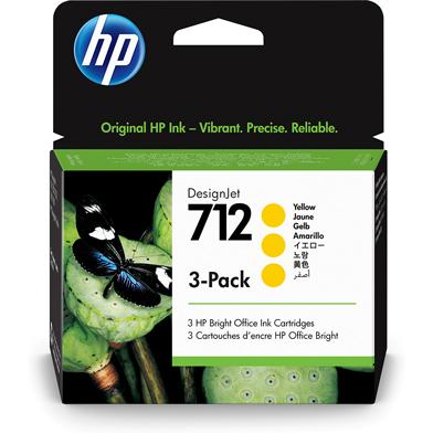 HP 3ED79A 712 3-Pack Yellow DesignJet Ink Cartridges (29ml)