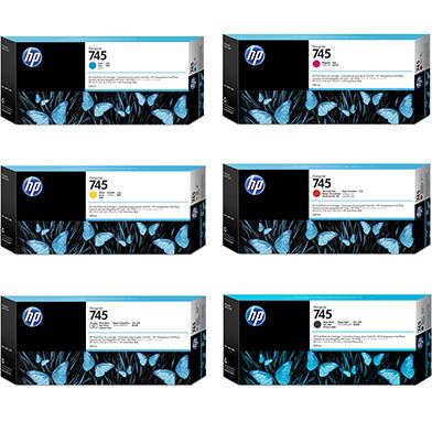 HP 745 High Capacity Ink Cartridge Value Pack (300ml x 6)