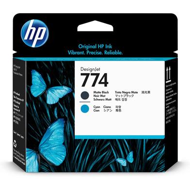 HP P2W01A 774 Matte Black/Cyan Gray DesignJet Printhead
