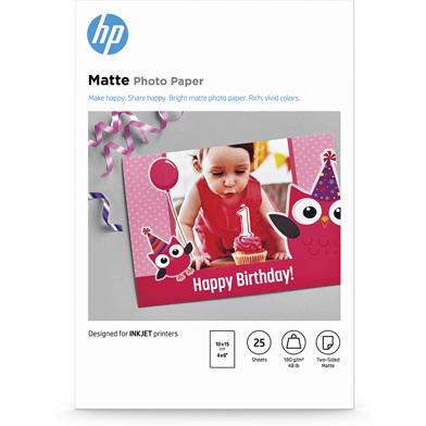 HP 7HF70A Matte Photo Paper - 180gsm (25 Sheets / 10 x 15 cm)