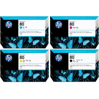 HP No.80 Ink Cartridge Bundle Pack CMY (3 x 175ml) K (350ml)