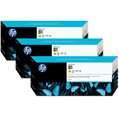 HP 81 3-Pack Yellow Dye Ink Cartridges (680ml)