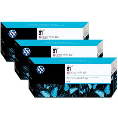HP 81 3-Pack Light Magenta Dye Ink Cartridges (680ml)
