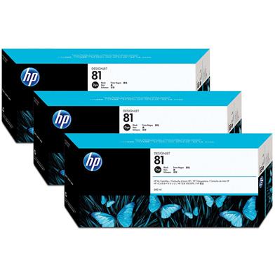 HP 81 3-Pack Black Dye Ink Cartridges (680ml)