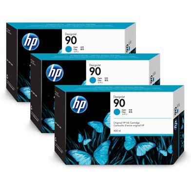 HP 90 3-Pack Cyan Ink Cartridges (3 x 400ml)