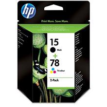HP SA310AE No.15 Black Ink Cartridge (25ml) + No.78 TriColour Ink Cartridge (19ml)