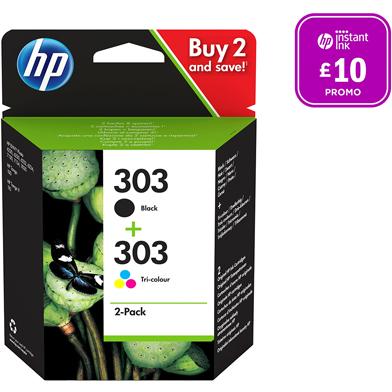 HP 303 Black & Tri-Colour Ink Cartridges CMY (165 Pages) K (200 Pages)