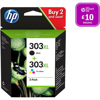 HP 303XL Black & Tri-Colour Ink Cartridges CMY (415 Pages) K (600 Pages)