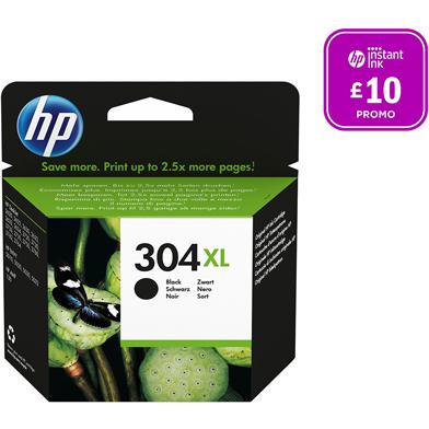 HP N9K08AE 304XL Black Ink Cartridge (300 Pages)
