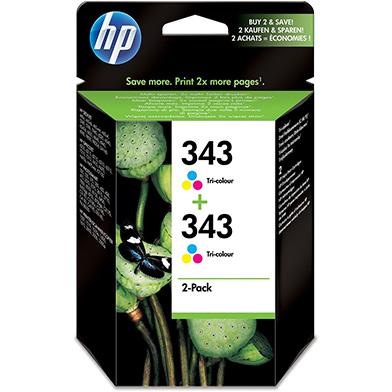 HP CB332EE No.343 Tri-colour Inkjet Print Cartridge (2-pack)