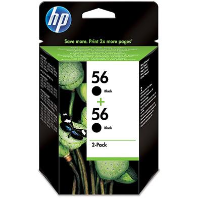 HP No.56 2-Pack Black Print Cartridges (520 Pages)