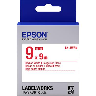 Epson C53S653008 LK-3WRN Standard Label Cartridge (Red/White) (9mm x 9m)
