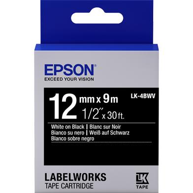 Epson C53S654009 LK-4BWV Vivid Label Cartridge (White/Black) (12mm x 9m)