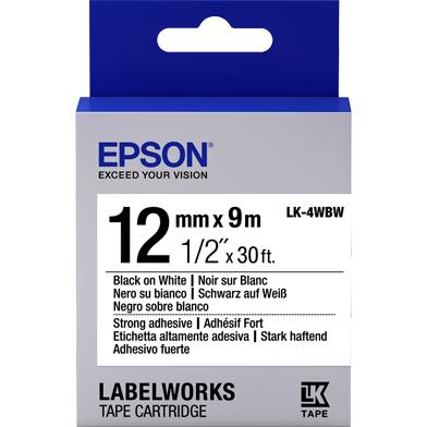Epson C53S654016 LK-4WBW Strong Adhesive Label Cartridge (Black/White) (12mm x 9m)
