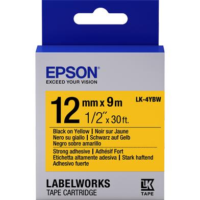 Epson C53S654014 LK-4YBW Strong Adhesive Label Cartridge (Black/Yellow) (12mm x 9m)