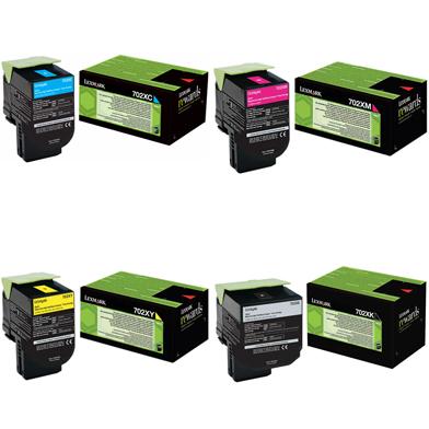 Lexmark  702X Extra Hi-Cap Toner Value Pack CMY (4k) K (8k)