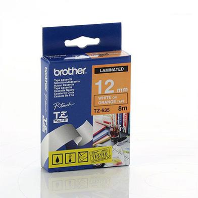 Brother TZ635 TZ-635 12mm Labelling Tape (WHITE ON ORANGE)