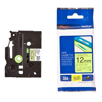 Brother TZEC31 TZe-C31 12mm Labelling Tape (BLACK ON FLUORESCENT YELLOW)